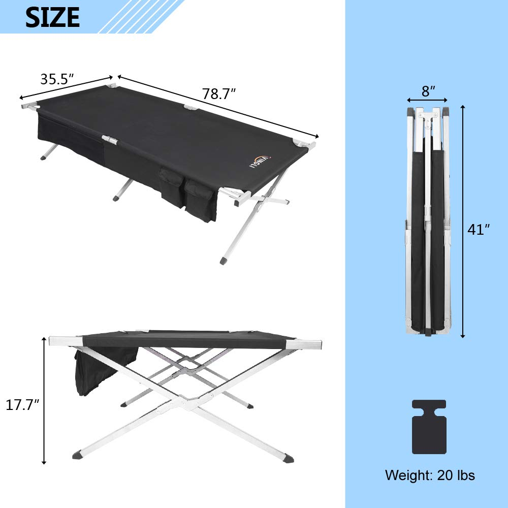 Folding Military//Army Camp Bed Camp Folding XXL Cot Free Carring Bag Heavy-Duty Sleeping Cots 400LBS Support 78 x 35 inch Indoor /& Outdoor VINGLI 6.6 by 3 FEET