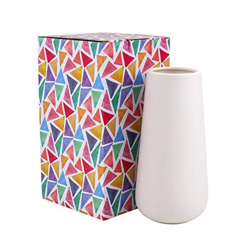 D'vine Dev Gift Box Packaged 8'' Tall Snow White Ceramic Flower Vases - Home Decor Vase and Table Centerpieces Vase by D'vine Dev
