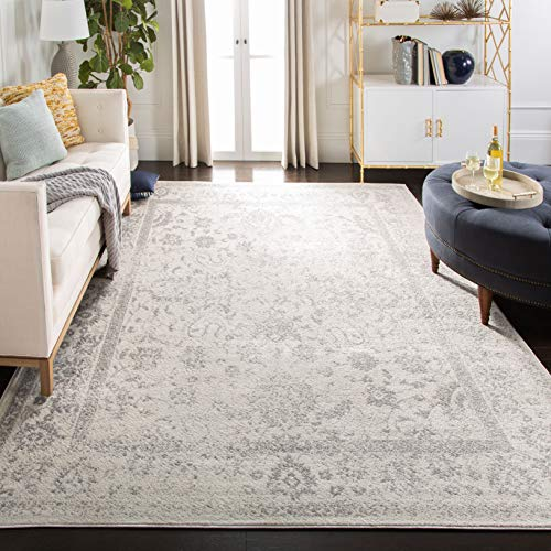 Safavieh Adirondack Collection ADR109C Ivory and Silver Oriental Vintage Distressed Area Rug (10' x 14')