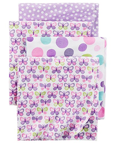 Carter's Baby Girls' One Size 4-Pack Flannel Receiving Blankets, Purple Butterfly, One Size