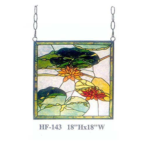 (HF-143 Rural Vintage Tiffany Style Stained Church Art Glass Decorative Lotus&Leaves Square Window Hanging Glass Panel Suncatcher, 18