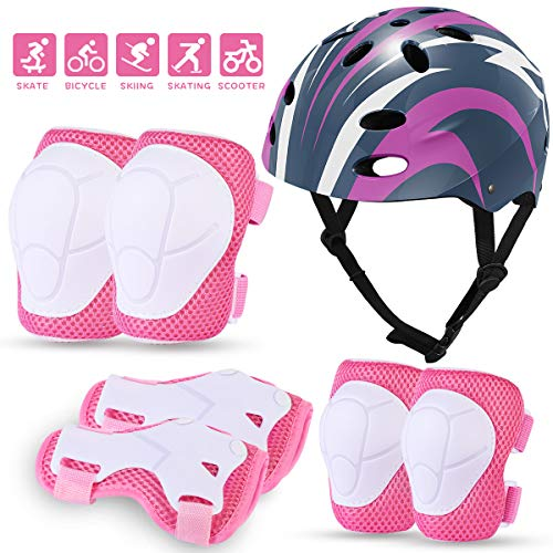 MOVTOTOP Kids Protective Gear Set, Kids Bike Helmet for 3-8 Years, Toddler Helmet Knee Elbow Wrist Pads for Roller Bicycle Bike Skateboard& Extreme Sports Pink