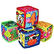 TEYTOY My First Soft Blocks, 4PCS Nontoxic Fabric Baby Cloth Building Blocks Early Education Toys Activity Crinkle Cloth Blocks, Perfect for Baby gift.