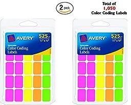 Avery Removable Color etiquetas de codificacin, rectangular, varios colores, paquete de 525(06721)