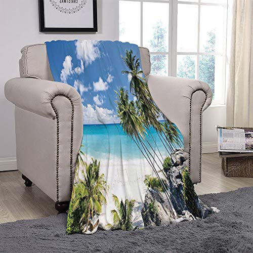 SCOCICI Super Soft Throw Blanket/Summer,Bottom Bay Barbados Beach Tropical Palms Ocean Holiday Paradise Coast Charm Picture,Multicolor/for Couch Bed Sofa for Adults Teen Girls Boys