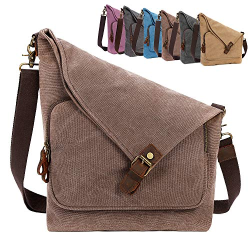 AmHoo Canvas Crossbody Bag for Women Genuine Leather Messenger Purse Handbags Shoulder Bag Hobo Totes Unisex,Coffee ()