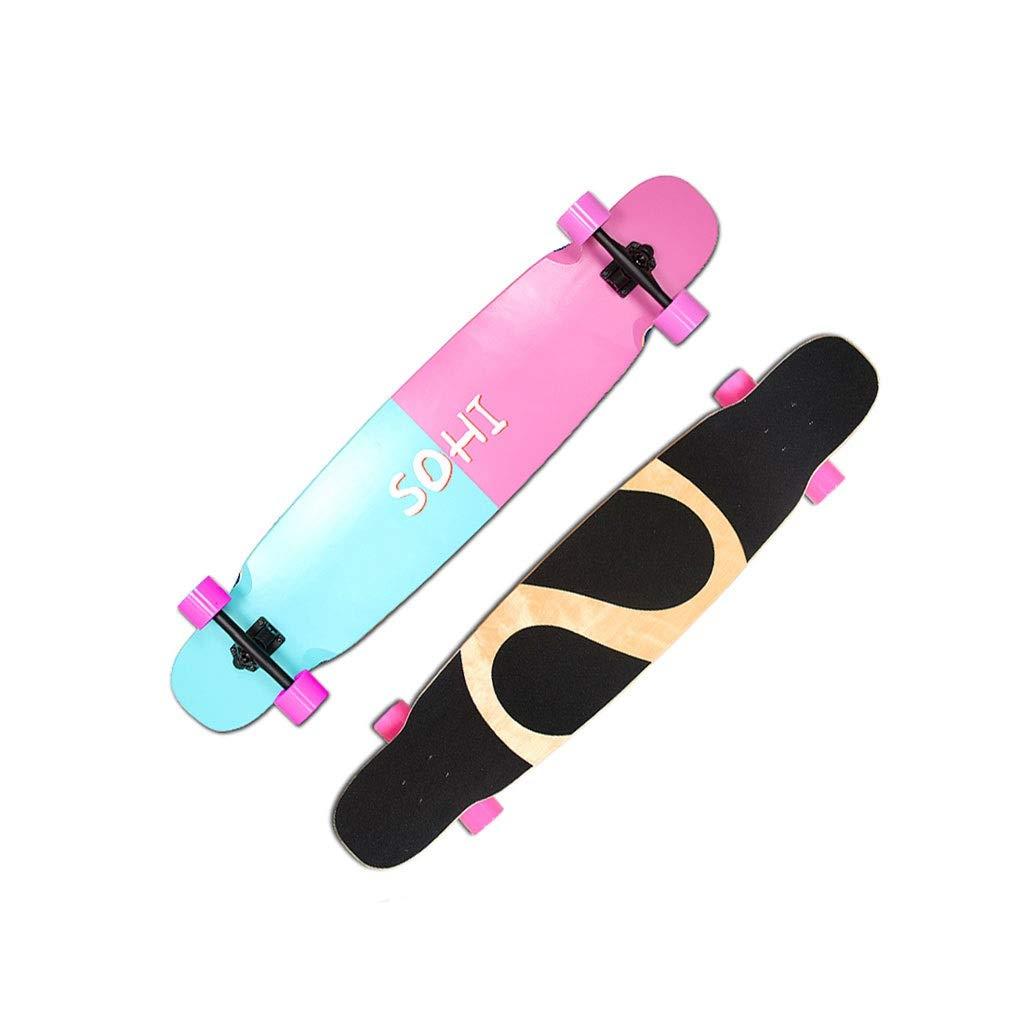 HXGL-スケートボード 若者四輪ブラシストリートボード初心者大人プロスケートボードロードロングボードダンスボード男女学生ダブルロッカー-コントラストカラーユース  46*9.84 in