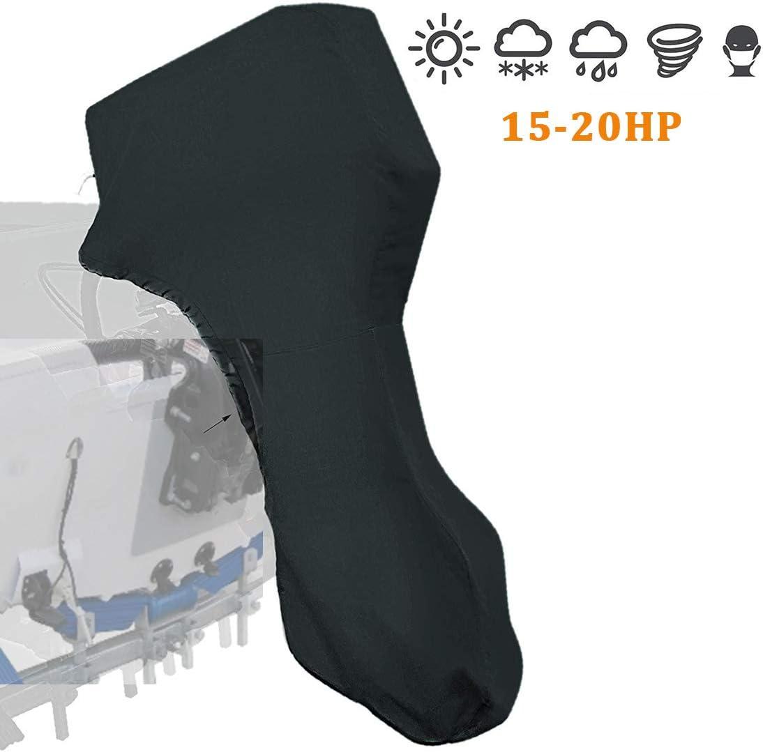 Outboard Motor Cover Black 600D Waterproof Motor Hood Cover (15-20 HP