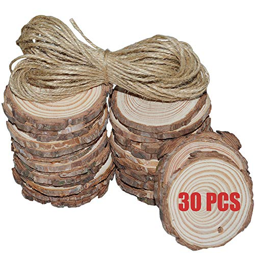 Nature Wood Slices with Hole 30 Pcs 2.4-3.15 Inch Diameter Round Hanging Tags Unfinished Predrilled Wooden Circles Great for Christmas Ornaments Centerpieces Coasters Crafts DIY Handmade Arts
