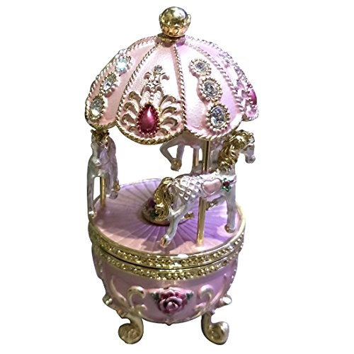 Faberge Egg with Horse Carousel Trinket Box Egg Carving, used for sale  Delivered anywhere in USA