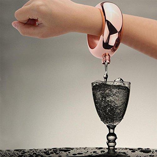 WOVELOT Bangle Flask Stainless Steel Wine Hip Flask Bracelet Shape Whiskey Drinkware Funnel Wine Bottle Set Rose Gold