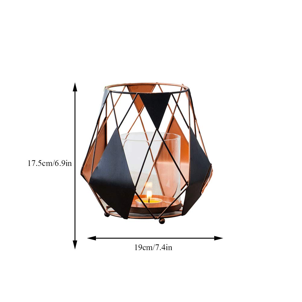 Retro Hollow Candle Holder Geometric Hurricane Candlestick Suitable for Candlelight Dinner Living Room Wedding Table Candlestick Decoration Set Two,setof2