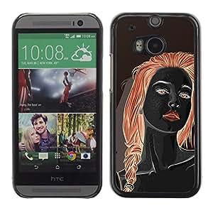 GOODTHINGS ( NO PARA HTC ONE MINI 2) Funda Imagen Diseño Carcasa Tapa Trasera Negro Cover Skin Case para HTC One M8 - chica pelirroja negro labios rojos Mujer