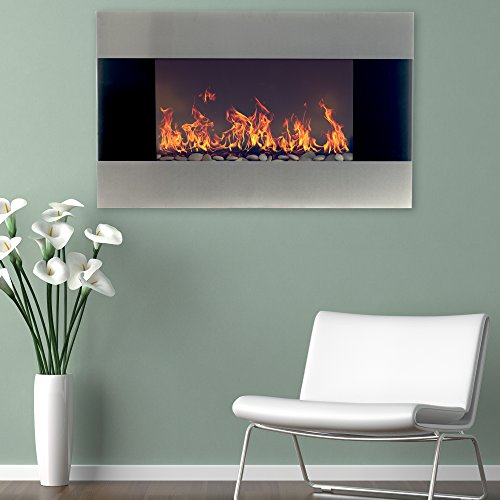 Northwest Stainless Steel Electric Fireplace with Wall Mount and Remote, 36 Inch, 36