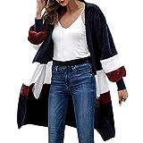 KFSO Women Cardigan Coat,Women Long Sleeve Loose Coat Oversized Sweater Coat Striped Tops (Black, L)