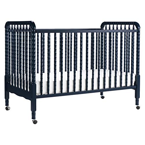 (DaVinci Jenny Lind 3-in-1 Convertible Portable Crib in Navy - 4 Adjustable Mattress Positions, Greenguard Gold)