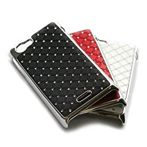 3pcs X Rhinestone Bling Chrome Plated Shine Case Cover for Sony Xperia J ST26i (color:black,white,red) + 1 Gift