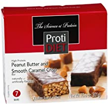 ProtiDiet Peanut Butter and Smooth Caramel Crisp Bar (Box of 7) 10.6 oz
