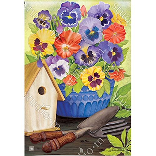 Magnet Works, Ltd. Pretty Pansy and Birdhouse Garden (Birdhouses House Flag)
