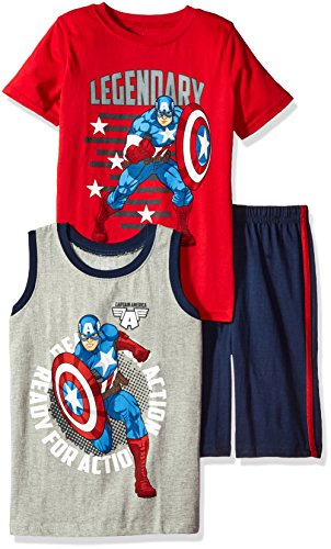 Marvel Toddler Boys' 3 Piece Captain America Muscle Tank, T-Shirt and Short Set, Red, 2t