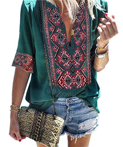 Women's Casual Bohemian Embroidered T-Shirt Short Sleeve Loose Blouse Tops (L, 01-Green)