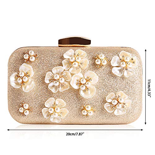 Handbags Party Glitter SLYlive Prom Clutch Evening Wedding Women Flower Bag Gold Chain Purse qxw84Bvq