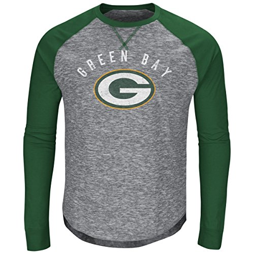 (Green Bay Packers Majestic NFL Full Out Blitz Men's Long Sleeve Gray Slub Shirt)