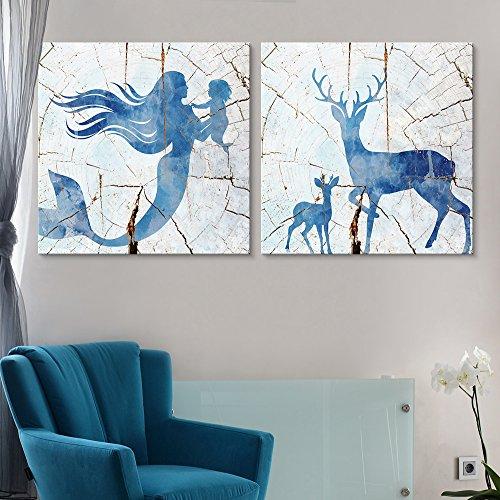 2 Panel Square Mermaid Deer Wood Effect x 2 Panels