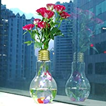 Charberry Glowing Light Bulb Shape Stand Plant Flower Vase Hydroponic Container Bottle (Gold)