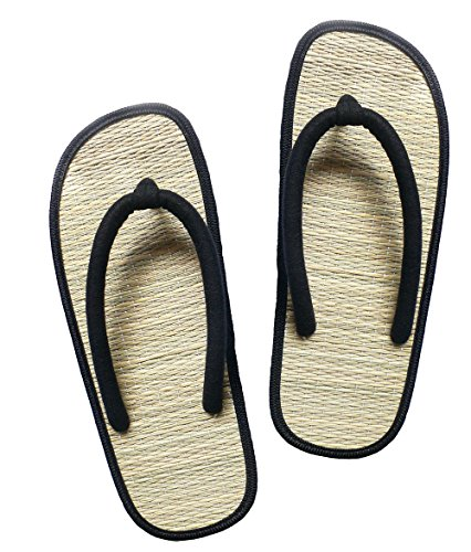USA STEP Ladies Women Girls Handmade Fashion Indoor Outdoor Home Spa Hotel Solid Black Straw Seagrass Summer Flip Flops Sandals Slippers Thong - Black - Bamboo Flip Flop Sandals