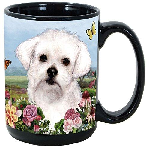Garden Party [L-Z] Maltese 15 oz Coffee Mug Bundle with Non-Negotiable K-Nine Kash by Imprints Plus (Maltese Garden)