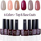 Gellen UV Gel Nail Polish Kit 6 Pastel Colors + Base Coat and Top Coat