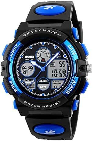 Children Students LED Pointer Display Waterproof Sports Wrist Watch Blue