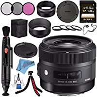 Sigma 30mm f/1.4 DC HSM Art Lens for Sony #301205 + 62mm 3 Piece Filter Kit + Sony 128GB SDXC Card + Lens Pen Cleaner + Fibercloth + Lens Capkeeper + Deluxe Cleaning Kit + Flexible Tripod Bundle