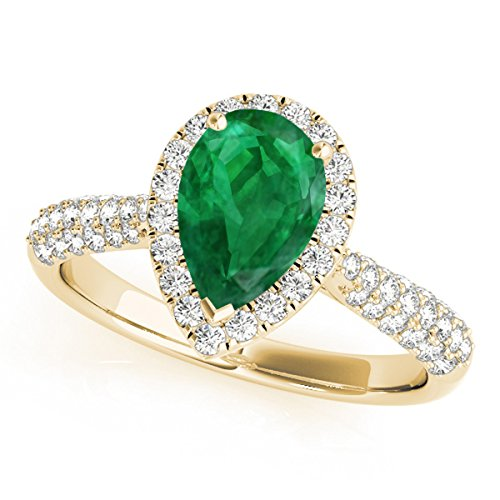 1 Ct. Ttw Diamond And Pear Shaped Emerald Ring In 10K Yellow Gold