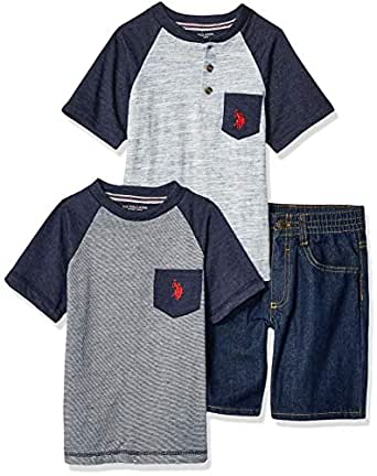U.S. Polo Assn. Boys 8722 Short Sleeve T-Shirt, Henley, and Denim Short Set Shorts Set - Blue - 5/6