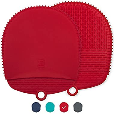 New! The Ultimate Silicone Pot Holders / Oven Mitts - Unique Design Makes Them Safe, Non-Slip & Flexible for the Highest Protection & Performance - Heat Resistant Up To 500°F (Coral Red, 1 Pair)