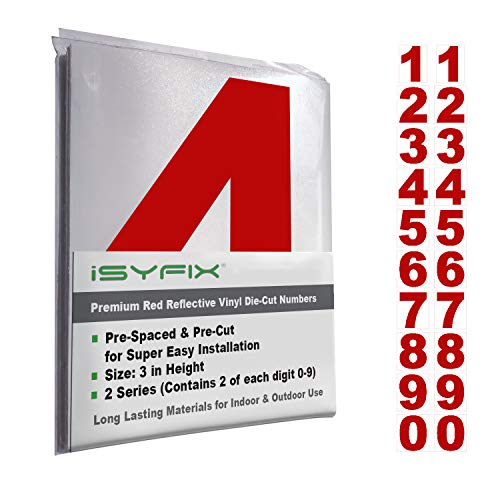 Reflective Red Vinyl Numbers Stickers – (2 Sets) 3 Inch – Premium Self-Adhesive Decal Die Cut and Pre-Spaced for Mailbox, Signs, Window, Door, Cars, Trucks, Home, Business, Address Number