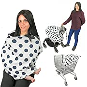 Baby Car Seat Cover Nursing Breastfeeding Cover Scarf Multi use-Stroller Canopy, Shopping Cart, Swaddle, Hi-Chair. Soft Breathable Washable Baby Boy or Girl (Navy Dots)