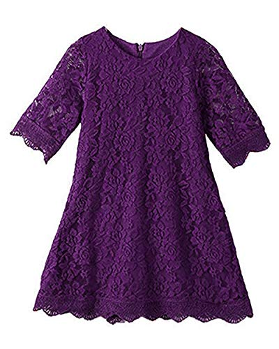 APRIL GIRL Flower Girl Dress, Lace Dress 3/4 Sleeve Dress (Purple, 2T)