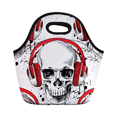 Semtomn Neoprene Lunch Tote Bag Red Pattern of Skull in Headphones on Green Music Reusable Cooler Bags Insulated Thermal Picnic Handbag for Travel,School,Outdoors,Work -