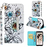 Case for Galaxy J4+/J4 Plus,Slim 3D Printing PU Leather [Kickstand] Wallet Case Card Holder Inner Soft TPU Bumper with Magnetic Closure & Wrist Strap Compatible with Samsung Galaxy J4+/J4 Plus -Lily