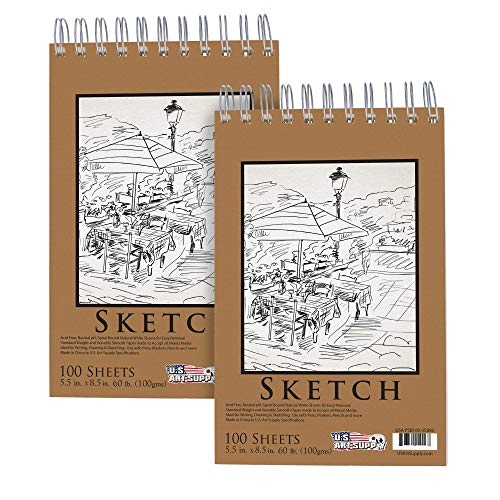 U.S. Art Supply 5.5″ x 8.5″ Premium Spiral Bound Sketch Pad, (Pack of 2 Pads) Each Pad has 100-Sheets, 60 Pound (100gsm)