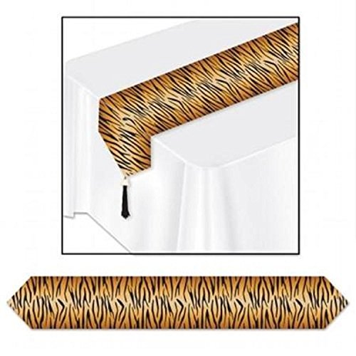 Club Pack of 12 Black, Orange and Yellow Tiger Print Decorative Table Runner 6'