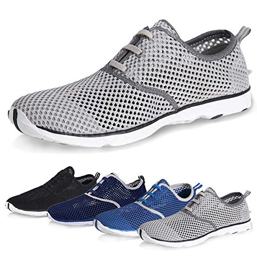 Water Shoes for Men Quick Drying Aqua Shoes Beach Pool Shoes (Gray, 44) from WateLves