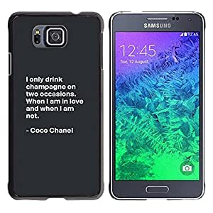 FECELL CITY // Duro Aluminio Pegatina PC Caso decorativo Funda Carcasa de Protección para Samsung GALAXY ALPHA G850 // Coco Quote Fashion Motivational Design