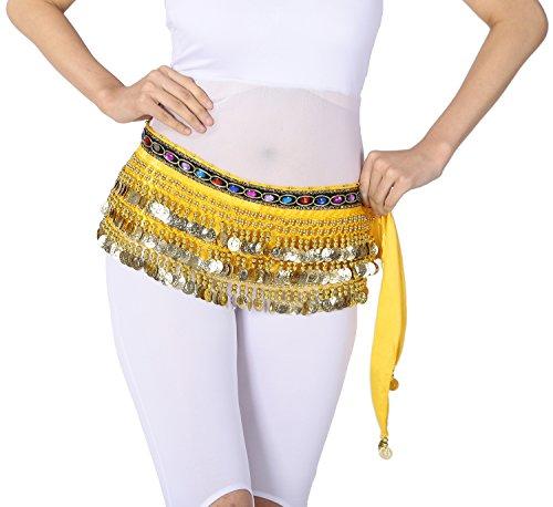 Arabian Velvet Belly Dancer Hip Scarf Scarves Jeweled Trim Gold Coin Adult Size