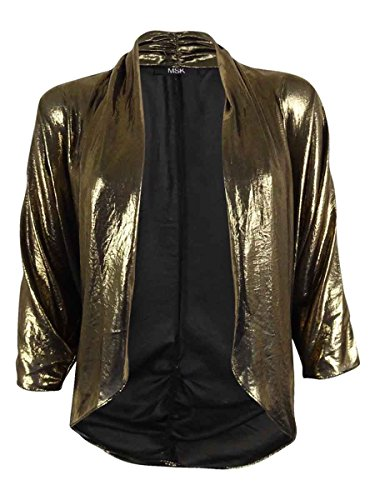 Dolman Sleeve Shrug - MSK Womens Metallic Sheer Shrug Black M