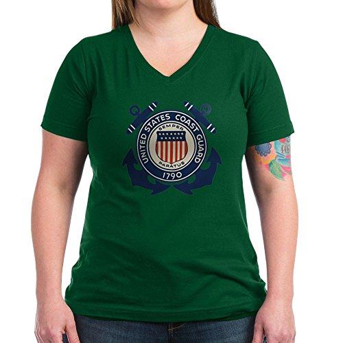 Royal Lion Women's V-Neck Dark T-Shirt United States US Coast Guard Seal - Kelly Green, (Royal Coast Green)