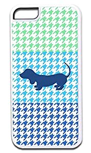 MEIMEIColorblock Houndstooth-Blue Puppy Silhouette- Case for the APPLE iphone 4/4s ONLY!!! -Hard White Plastic Outer Case with Tough Black Rubber LiningMEIMEI